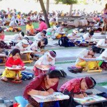 HUT ke-231 Kota Denpasar, Ratusan Siswa SD dan SMP Ikuti Lomba Nyurat Aksara Bali