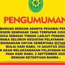 Tiga Hakim Dan Dua Pegawai PN Denpasar Positif Covid-19, Sidang Ditiadakan Hingga 2 September