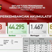 Update Penanggulangan Covid-19 di Bali, Pasien Sembuh Bertambah 102, Meninggal Empat Orang