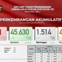 Update Penanggulangan Covid-19 di Bali, Pasien Sembuh Bertambah 55 dan Positif 37 Orang