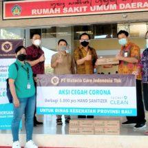 Aksi Peduli Lawan Covid-19, PT Victoria Care Indonesia Tbk Donasikan 5.000 Botol Hand Sanitizer untuk Pemprov Bali