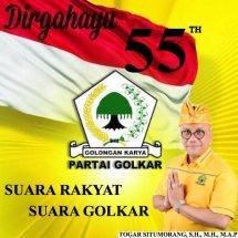 Selamat HUT ke-55 Partai Golkar, Dr.(c) Togar Situmorang: Indonesia Terus Menanti Karya-karyaMu