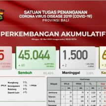 Update Penanggulangan Covid-19 di Bali: Pasien Meninggal Bertambah Dua, Total 1.500 Orang