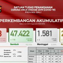 Update Penanggulangan Covid-19 di Bali, Positif 272 dan Sembuh 178 Orang